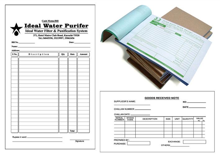 Printing Items Bill Book Cash Memo Plastic Laminated